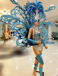 C058B Victoria Blue Angel Butterfly Showgirl Headdress Showgirl Backpack
