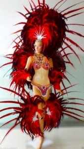 C058C  ShowgirlBrazilian Carnival Brazilian Rio Carnival Samba Dance Costume  Showgirl Headdress Showgirl BackpackCostume Set