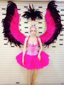 C097 Pink Angel Showgirl Dress Goddess Headdress Angel Wings Costume Set