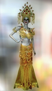 G045I Gold Thai Asian Princess Showgirl Headdress Gown Costume Set
