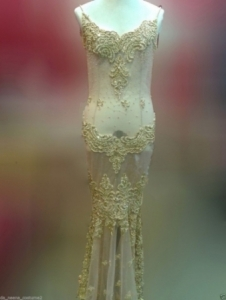 G045 Gold Asian Princess Showgirl Dress Gown