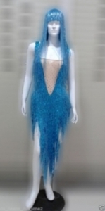 M535Z Cher Inspired Bugle Beaded Showgirl Leotard Showgirl Bodysuit with Wig