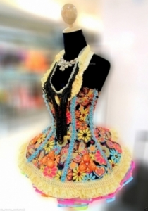M581 Colorful Rainbow Queen Dress