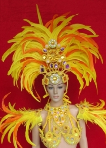 C076H Carnival Brazilian Rio Carnival Samba Dance Costume  Rio Feather Showgirl Headdress Shoulder Pieces