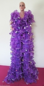 C35 Princess purple ruffle Showgirl Coat