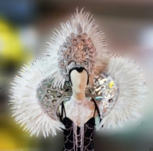 WHITE Showgirl Headdress Showgirl Backpack Shoulder Piece Piece