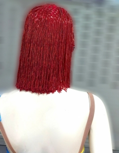 Bob WIG CHER Inspired Red Beaded Wig