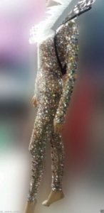 M016b Sparkling star crystal and sequin Showgirl Bodysuit