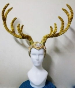 H620 Gold Deer Prince Princess Crystal Showgirl Headdress