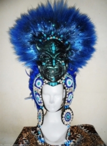 H621 I Bugis Mystical Mask Showgirl Headdress
