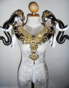 B628 Beauty Beast Prince Elephant Crystal Backpiece Shoulder Collar