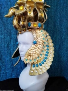 H623 Great Pharaoh Egypt Snake Crystal Showgirl Headdress