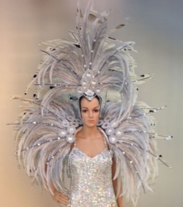 C0707 Showgirl Vegas Feather HaedShowgirl Dress and Backapck