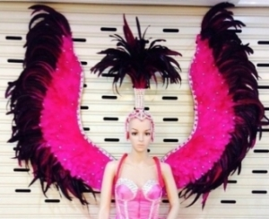 C097 Pink Angel Showgirl Dress Goddess Headdress Angel Wings