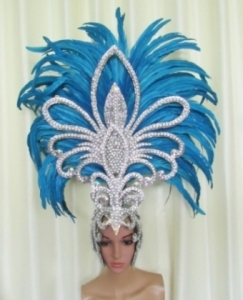 H1862XL Queen of  Big Hawk Crystal Feather Showgirl Headdress
