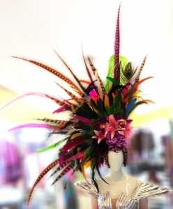 H657 Giant Pheasant Queen Parade Colorful Showgirl Headdress