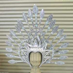H188 Queen of Arrows Showgirl Pageant Dancer Crystal Showgirl Headdress