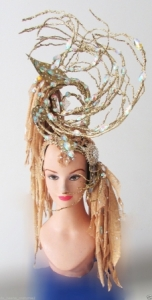 H177 Gold Tree Showgirl Dance Burlesque Crystal Showgirl Headdress