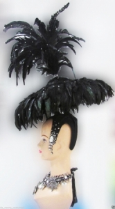 H176 Samurai Warrior Showgirl Crystals Umbrella Showgirl Headdress