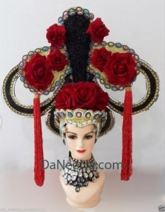 H175 Chinese Lady Showgirl Dance Cabaret Crystal Showgirl Headdress