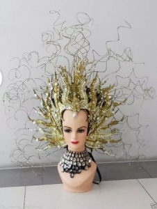 H174 Medusa Seaweed Tree Cabaret Feather Crystal Showgirl Headdress