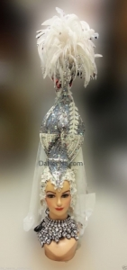 H173 Noblewoman Showgirl Dance Cabaret Feather Crystal Showgirl Headdress