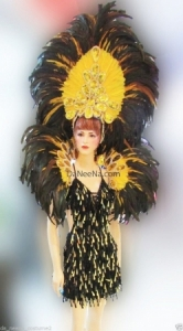 C109 Queen of Night Angel Crystal Feather Showgirl Dress Goddess Headdress Costume Set