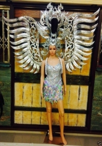 C107 Burlesque Silver Angel Showgirl Dress Goddess Headdress Angel Wings