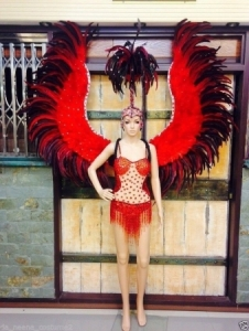 C105 Red Angel Victoria Secret Ostrich Showgirl Leotard Showgirl Bodysuit Showgirl Headdress Angel Wings