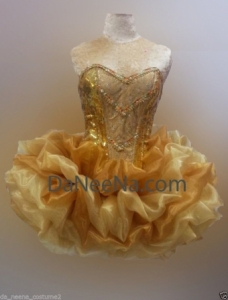 M136 Gold Pretty Lady Showgirl Vegas Stage Dance Dress