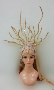 H167 Little Deer Princess Showgirl Dance Burlesque Crystal Showgirl Headdress