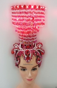 H167 Light Crystal Showgirl Beaty Pageant Showgirl Headdress Crown Tiara China