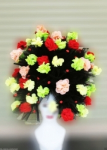 H131 Valentine Leaf World Earth Rose Flower Head Hat Wig Showgirl Headdress