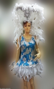 C100 Sea Princess ShowgirlDress Dance Showgirl Headdress Costume Set