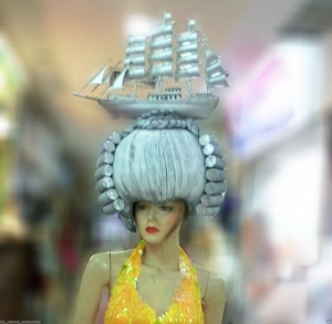 H156 Sailing Ship Sail Boat Sailor Navy French Wig Showgirl Headdress