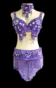T029B Hawaiii Belly Dancing Beaded Showgirl Bra Skirt Costume Set