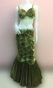 C071C Fish Showgirl Shell Showgirl Pearl Bra Skirt Mermaid Costume Set