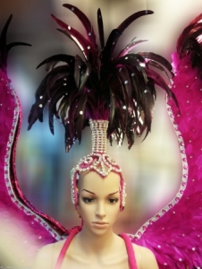 C097H Burlesque Pink Angel Victoria Secret Showgirl Dress Goddess Headdress