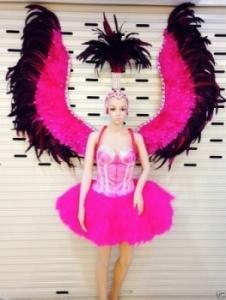 C097 Burlesque Pink Angel Victoria Secret Ostrich Showgirl Dress Goddess Headdress Angel Wings