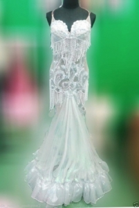 G042 White Beaded Pearl Princess Showgirl Stage Dance Dress Gown