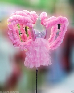 C096 Halo Pink Angel Angel Wings Showgirl Dress Showgirl BackpackCostume Set
