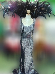 C084 Showgirl Feather Moulin Rouge Backpack Gown Costume set
