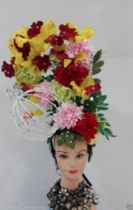 C0552 Vegas Orchid Green Leaf World Earth Flower Elegant Showgirl Headdress