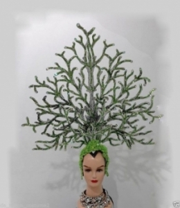 H151 Green Leaf World Earth Tree Flower Coral Global Warming Showgirl Headdress