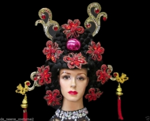 H148 Chinese China Geisha Japanese Rose Flower Showgirl Headdress
