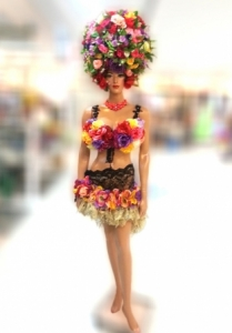 Giant Flora Princess Showgirl Headdress Showgirl Bra and Skirt Costume set