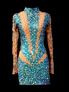 M647A Cute Colorful Elegant Nude Crystal Sequin Showgirl Dress