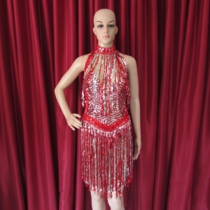 RS3 Sexy Dress with red and silver sequin fringes