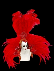 B0399C Red Samba Backpiece headdress