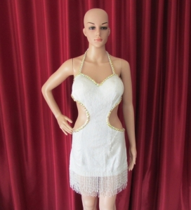 R36 White Heart Lady Showgirl Dress S